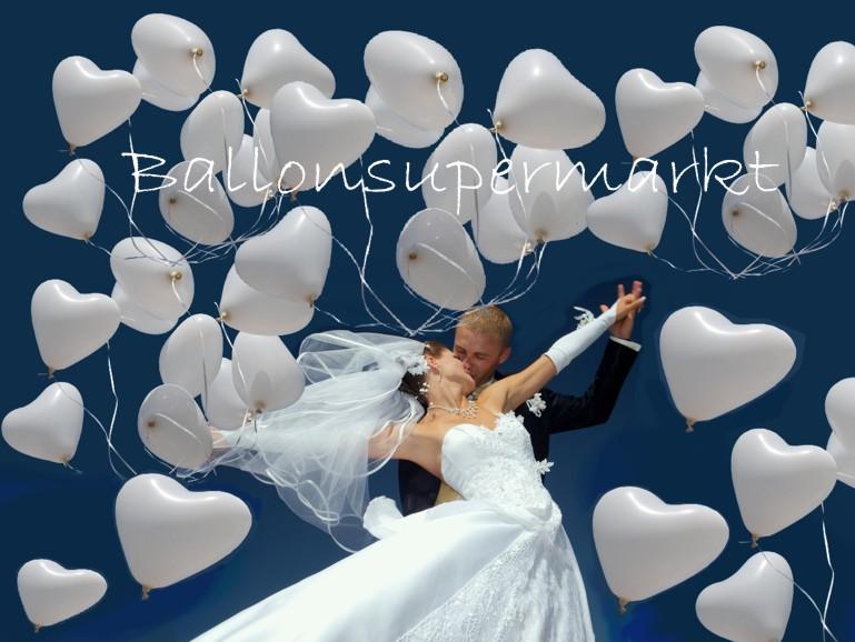 Herzluftballons Hochzeit aus Latex mit Helium