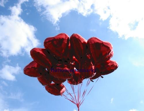 Luftballons Hochzeit: Herzballons aus Folie in Rot