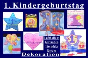 Zum 1. Geburtstag, Dekorationsbedarf und Luftballons