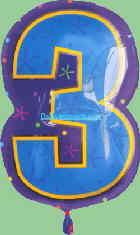Folienballon Geburtstagszahl 3