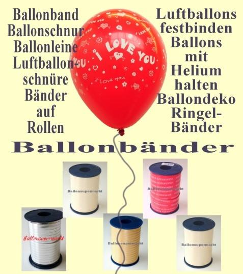 Ballonband. Ballonschnüre, Bänder für Luftballons