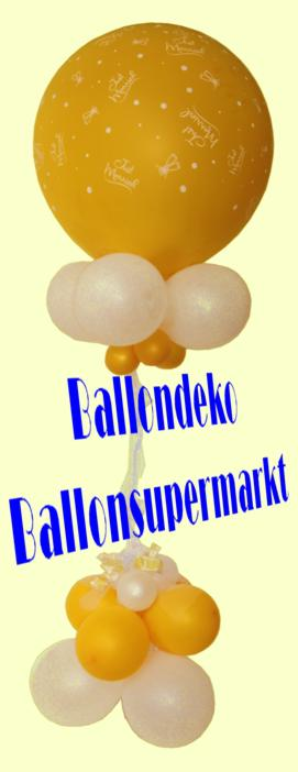 Ballondeko mit dem Riesenballon Just Married in Gold