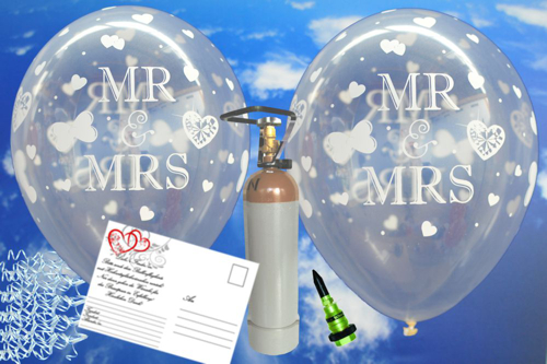 Ballons Helium Set Midi Hochzeit, transparente Luftballons Mr. and Mrs.