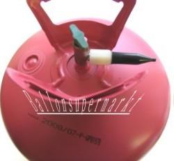 Einwegflasche Helium mit dem praktischen Füllventil zum Aufblasen der Luftballons mit Helium