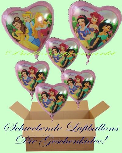 Karton mit 6 Geschenken Luftballons mit Helium für Kinder