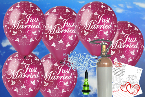 Luftballons-Just-Married-Burgund-Ballons-Helium-Midi-Set-Hochzeit