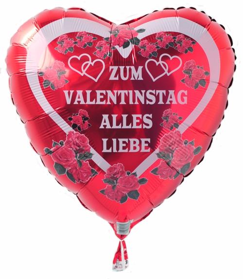 Zum Valentinstag Alles Liebe, Herz Luftballon Mit Helium, Rot