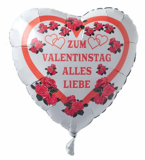 Zum Valentinstag Alles Liebe Luftballon In Herzform Mit Helium, Weiß